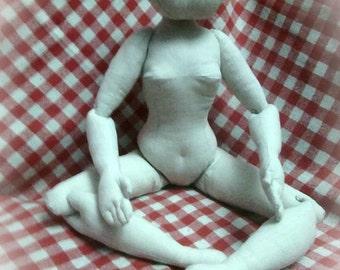 Download PDF big cloth doll 24 inch (60cm). Posable soft doll.  DIY Fashion doll basic body pattern. Soft sculpture woman.