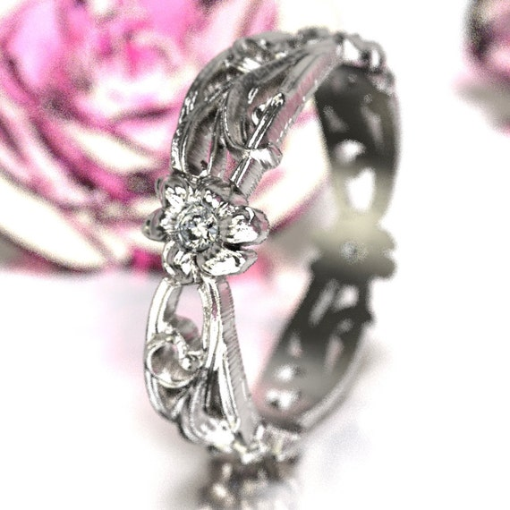 Art Nouveau Sterling Silver Floral Design Ring with Moissanite, Made in Your Size CR-5018