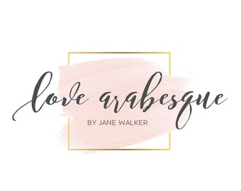 Logo Design Branding Package Premade Graphics Custom Text Gold Pink Peach Watercolor Wash Square Golden Frame Pink