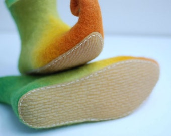 Children sizes- Rubber soles for my Felted shoes with stitching color beige, brown or black for outside wearing