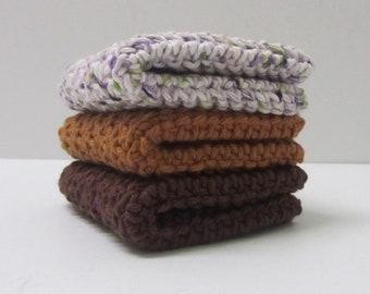 Cotton Washcloths Crochet Cloths 3 Set-Ready to Ship-