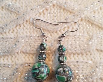 30% OFF NOW Green Mosaic Beaded dangle earrings