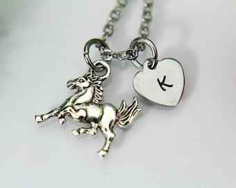 Horse Necklace, Silver Horse Charm, Running Horse Charm, Animal Charm, Pet Gift, Miniatures Horse Jewelry, Farmer Gift, 4 H Gift,  N96