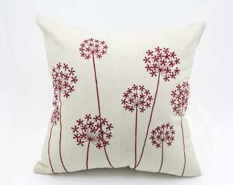 Queen Ann Pillow Cover, Beige linen Red Queen Ann, Embroidered Floral Accent Pillow, Flower Pillow Shams, Home Decor, Cushion Cover