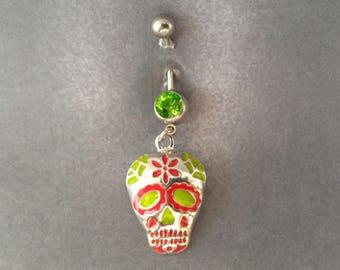 belly button ring Hippie Skull