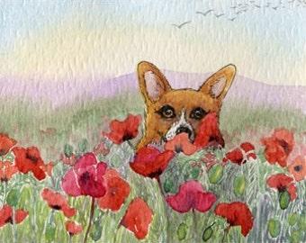 Welsh Corgi dog 8x10 poppies art print