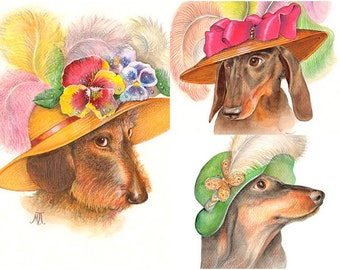 Doxie Watercolour Trio - 3 Art Prints - Hat with Flowers, with Feather and a Green Hat - Funny Pet Portraits by Maria Pishvanova