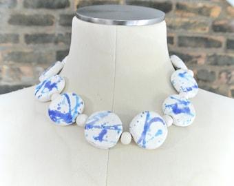 Vintage    Large White Stone Necklace    Blue Splatter Necklace    Avant Garde Necklace    Statement Necklace    0396