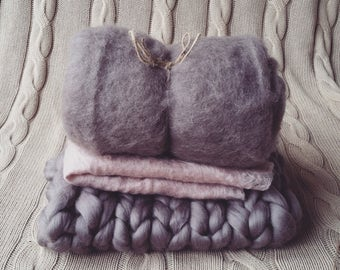 Baby Photo Prop Trio Blanket Set Chunky Bump Basket Stuffer Fluff