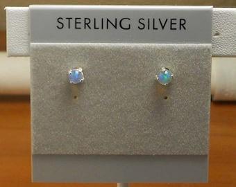 Opal Sterling Silver Stud Post Earrings