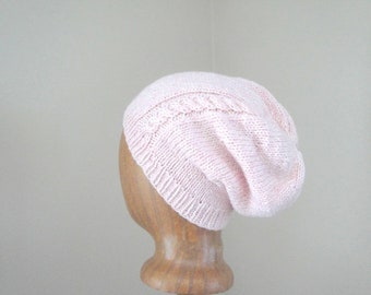 Women's Slouch Hat with Cable, Pale Pink & White, Cashmere and Wool, Hand Knit, Luxury Accessory, Slouchy Beanie