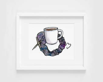 knitting & tea love <3 watercolor illustration art print | gifts for knitters, coffee, autumn, winter, craft, decoration, gifts for crafters
