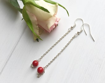 Valentine's Gift, Mothers Day Gift, Coral Earrings, Long Earrings, Clip On Earrings, Gift For Her, Handmade Gifts, Gift For Women, UK Shop