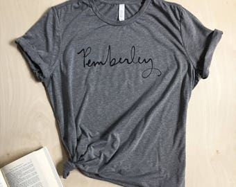 Pemberley T-shirt - Jane Austen - Pride and Prejudice - screen printed - womens size Small-2XL
