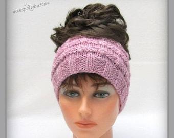 Ponytail Headband Or Messy Bun Headband, Pink Headband, Wide Headband, Knit Headband, Joggers Headband, Earwarmer, Hand Knitted Headband