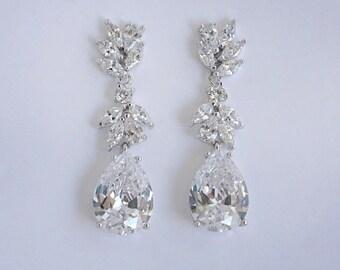 Mila - Bridal Earrings, Wedding Earrings, Teardrop Earrings, Crystal Drop Earrings, CZ Chandelier Earrings, Silver Wedding Earrings