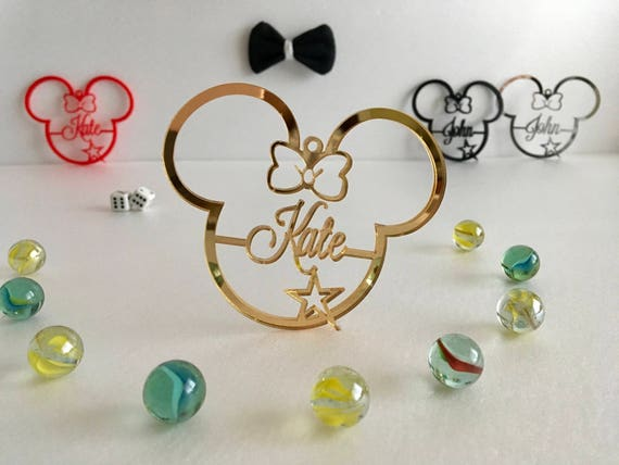 Personalized Mickey Mouse Ornament Disney Party Favor First Birthday Gift Minnie Mouse Decorations Mouse Ears Home Decor Personalised Bauble