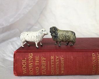 Vintage Sheep Figurines - Vintage Lead Sheep Figures - Vintage Lead Farm Animals Miniature Sheep & Ram - Vintage Lead Toys - Farmhouse Decor
