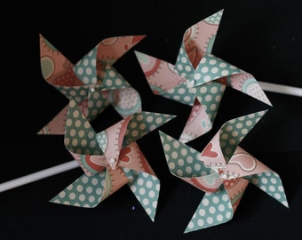 Paper Pinwheels escort cards 12 Mini Pinwheels (custom orders welcome)