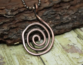 Copper jewelry, copper necklace, pure copper necklace spiral, hammered copper, copper pendant, rustic necklace