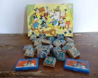 Vintage Walt Disney Carousel Multi Print Rubber Stamps x 24 In Box