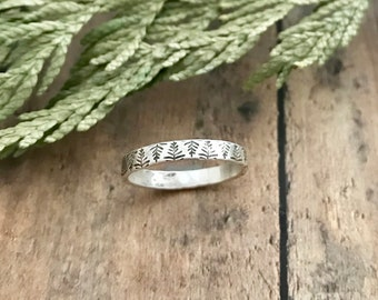 Pine Tree Stacking Ring, Hand Stamped, Sterling Silver, Pine Tree Skinny Stackable Ring
