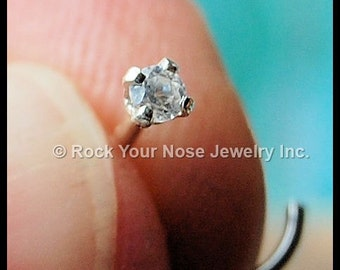 Diamond Style Nose Stud set in sterling silver - CUSTOMIZE