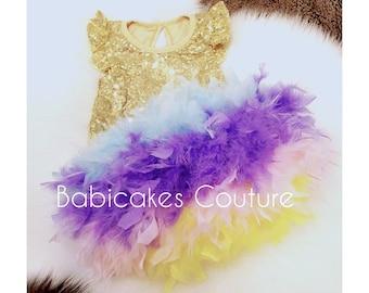 Unicorn 1st Birthday, Unicorn Cake Smash, Unicorn Feather Bloomer, Unicorn Headband, Unicorn Feather Outfit, Gold Sequin Unicorn Outfit