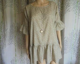 Blouse size 36/38/40, printed tunic foliage gray/Brown and ivory/white cotton women sizes.