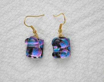 DANGLE EARRINGS fused dichroic glass (SYG25)