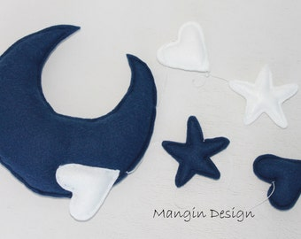 baby mobile moon star mobile gorgeous baby nursery mobile star mobile heart navy white nursery decor wall hanging moon mobile star mobile