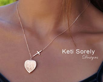 Personalized Heart Locket With Engraved Monogram Initials and Sideways Cross - Photo Locket - Sterling Silver, Rose Gold or Yellow Gold