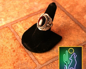 Large Mens Sterling Silver Leaf Bezel Onyx Cabochen Ring