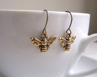 Petite Gold Bee charm earrings - little bees - gift for gardener - nickel free