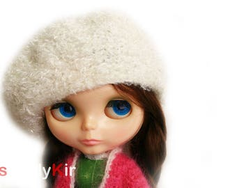 SimplyKir white  fluffy  blythe  french beret hat (PreMade)