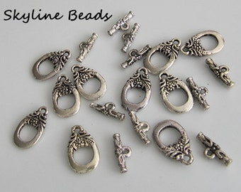 Tibetan Style Toggle Clasps - Antique Silver