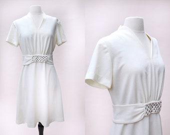 Vintage Dress / Vintage Cream Pearl Rhinestone Dress / Ivory Shift Dress