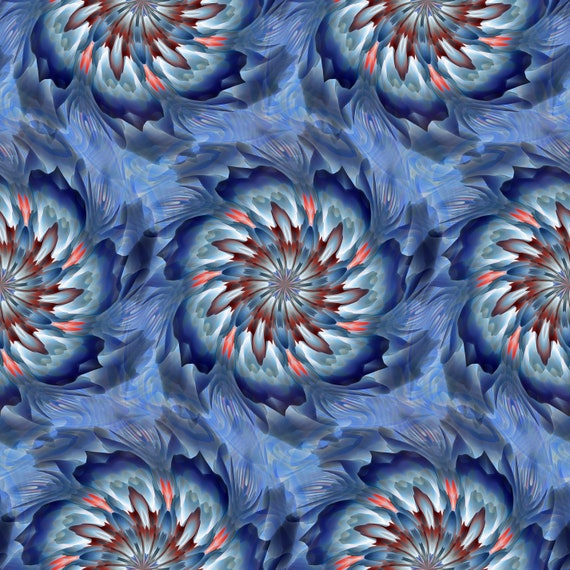 Blue Kaleidoscope Artist Created Lycra Knit Fabric By The Yard Athletic Apparel Swimwear Swim Suit