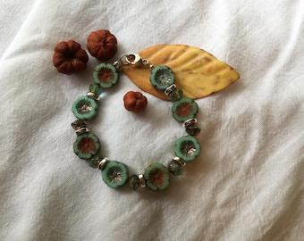 Czech glass flower bead bracelet