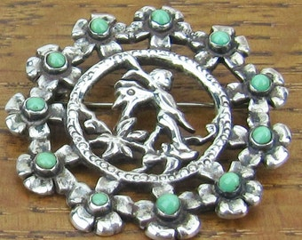 Vintage Sterling Turquoise brooch pin Fairy wings staff cupid hand made in Mexico silver jewelry