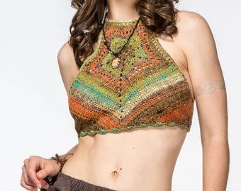 High neck crochet top/Festival crochetl top/Hippie top/Crochet halter top/Hippie top/Summer top/Crochet summer top