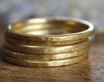 Hammered Brass Stacking Rings Set of Five
