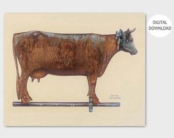 "Milk Cow Kitchen Print (Folk Art Weathervane Wall Decor, Vintage Download Farm) -- 1930s PRINTABLE Art ""Cow Weather Vane"""