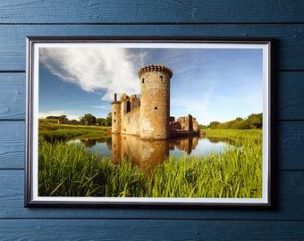 Caerlaverock Castle Print / Scottish Castle / Historic Building / Scottish Landscape / Scotland Print / Castle Moat / Castle Print