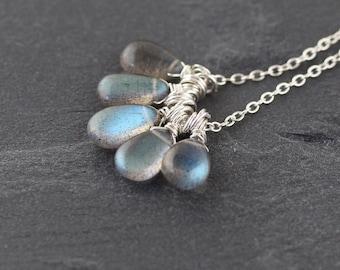 Labradorite & Sterling Silver Cluster Necklace. Flashy Blue AAAA Gemstone Pendant. Wire Wrapped Bead Jewelry. Hippie, Boho, Bohemian Jewelry
