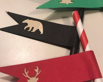 Lumberjack theme paper drinking straws with flags - great for baby shower, birthday party and much more