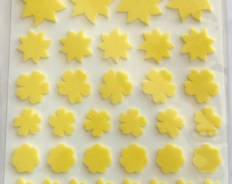 Raised x 58 - art yellow flower theme STICKERS 33552
