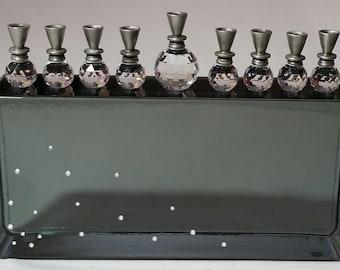 Crystal Menorah - Unique Black Glass Menorah - Hannukah - Chanukah - Jewish Wedding Gift