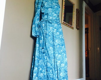 Vintage Blue Dress / 1960s Blue Floral Dress / 60s Long Blue Dress