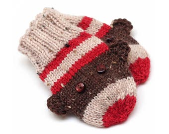 Sock Monkey Mittens. Knit Infant Winter Mittens Without Thumbs. Unisex Hand Warmers. Baby Boy or Girl Warm Wool Mittens. Mittens on String